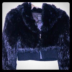 Crop style rabbit fur jacket